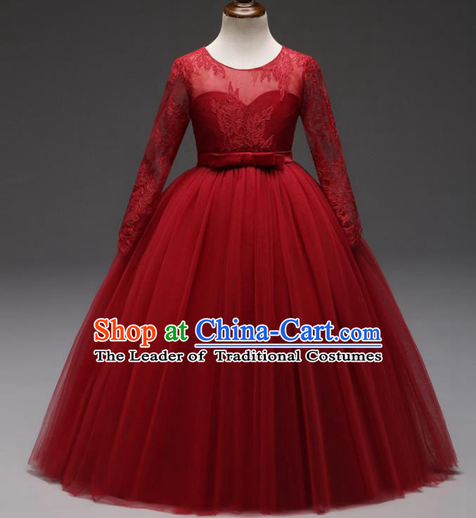 Children Models Show Costume Stage Performance Modern Dance Compere Red Lace Veil Dress for Kids