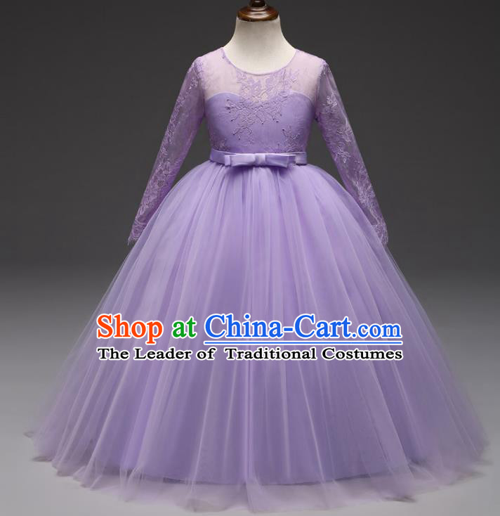 Children Models Show Costume Stage Performance Modern Dance Compere Lilac Lace Veil Dress for Kids