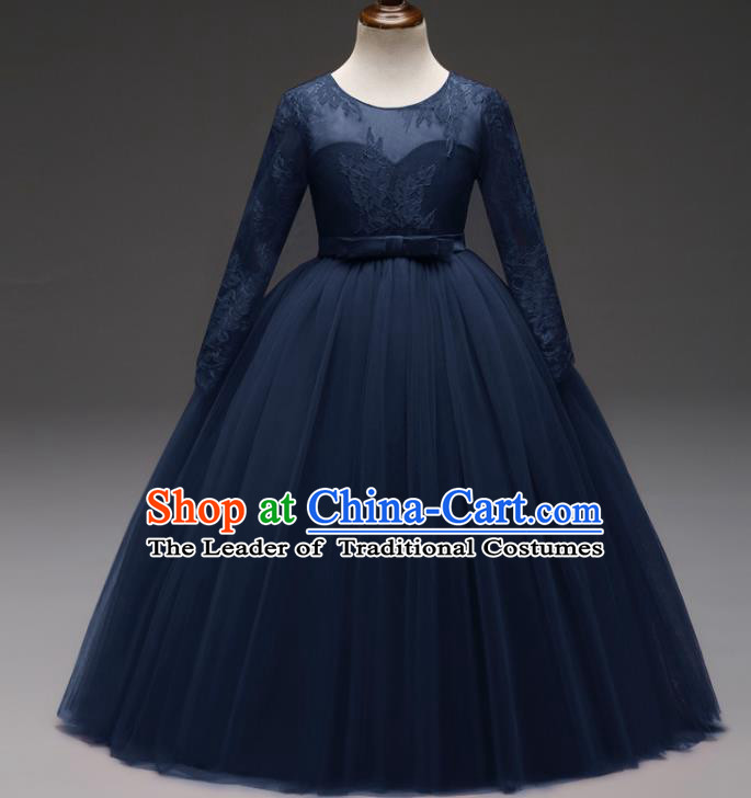 Children Models Show Costume Stage Performance Modern Dance Compere Navy Lace Veil Dress for Kids