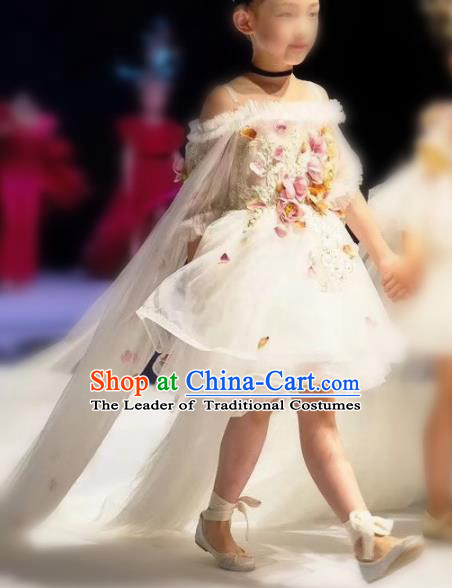 Children Models Show Costume Stage Performance Catwalks Compere White Veil Trailing Dress for Kids