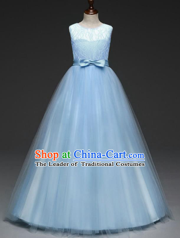 Children Models Show Costume Stage Performance Catwalks Compere Blue Veil Dress for Kids
