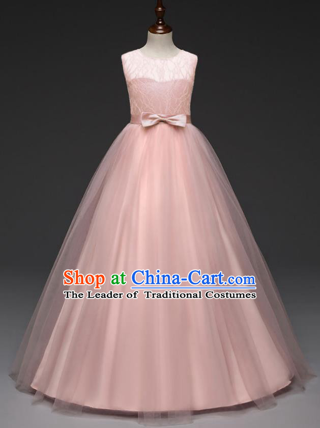 Children Models Show Costume Stage Performance Catwalks Compere Pink Veil Dress for Kids