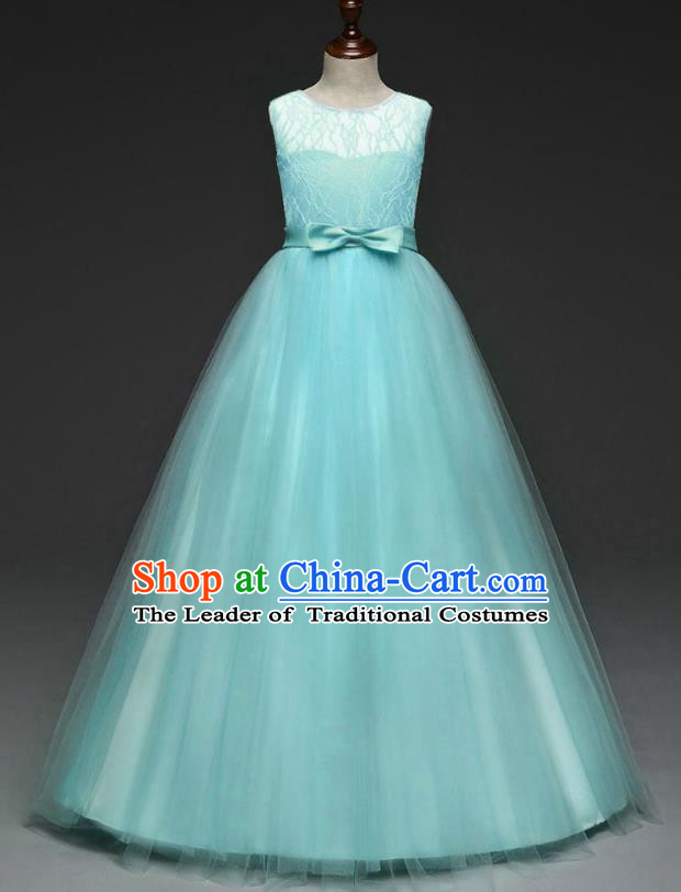 Children Models Show Costume Stage Performance Catwalks Compere Green Veil Dress for Kids