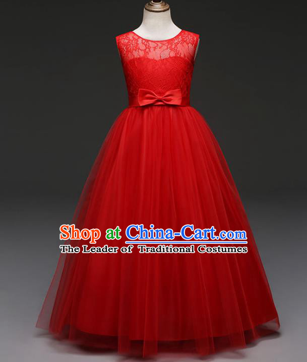 Children Models Show Costume Stage Performance Catwalks Compere Red Veil Dress for Kids
