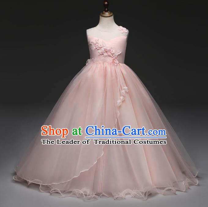 Children Models Show Costume Stage Performance Catwalks Compere Princess Pink Dress for Kids