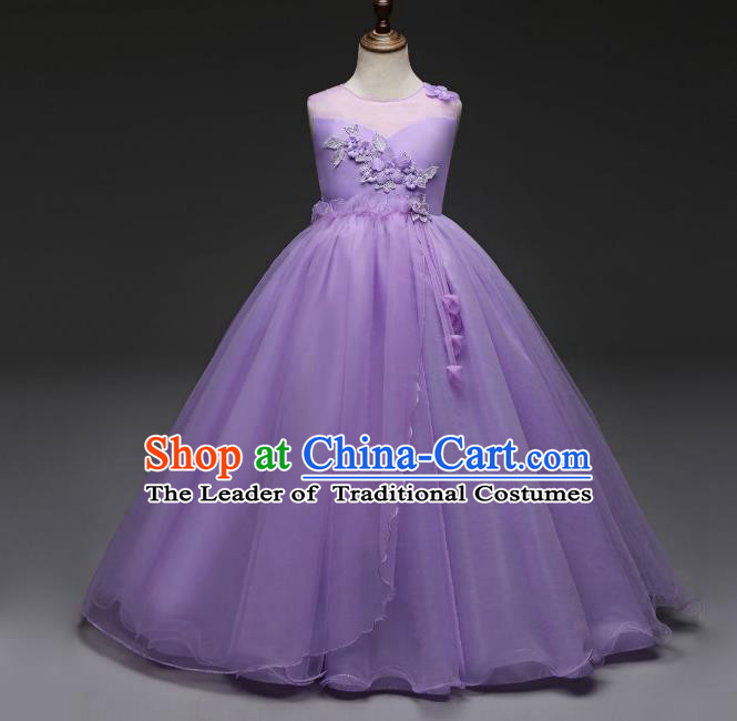 Children Models Show Costume Stage Performance Catwalks Compere Princess Purple Dress for Kids