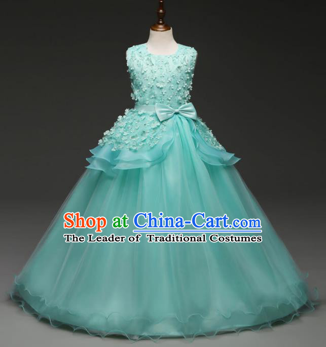 Children Models Show Costume Stage Performance Catwalks Compere Princess Green Bubble Dress for Kids