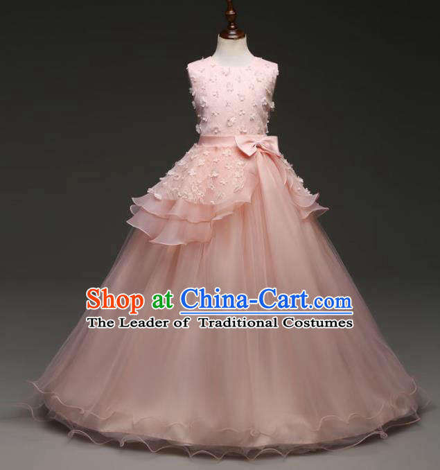 Children Models Show Costume Stage Performance Catwalks Compere Princess Pink Bubble Dress for Kids