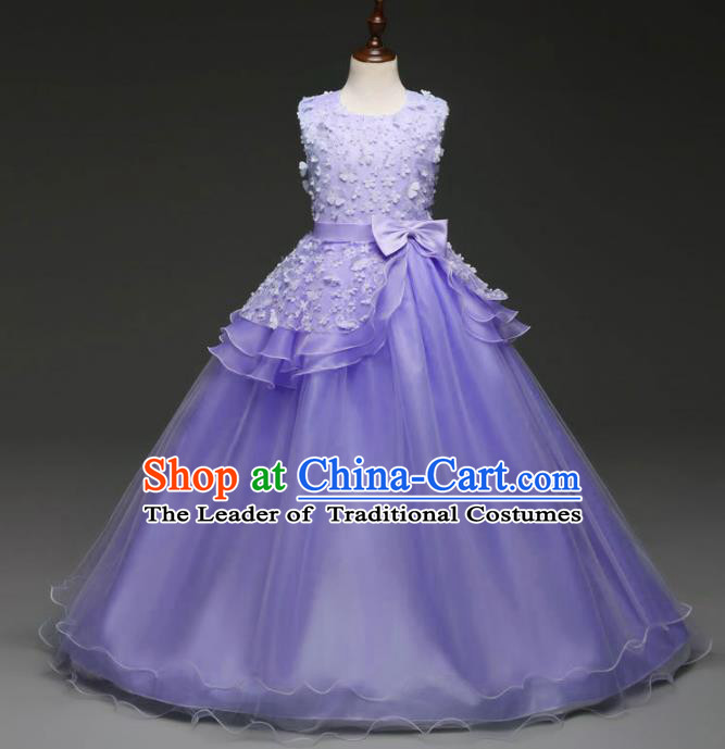 Children Models Show Costume Stage Performance Catwalks Compere Princess Purple Bubble Dress for Kids