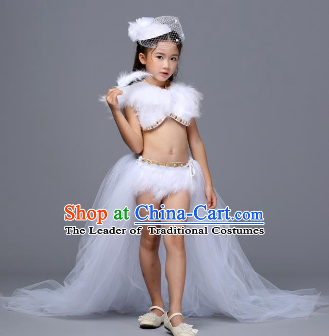 Children Models Show Costume Stage Performance Catwalks Compere White Feather Trailing Dress for Kids