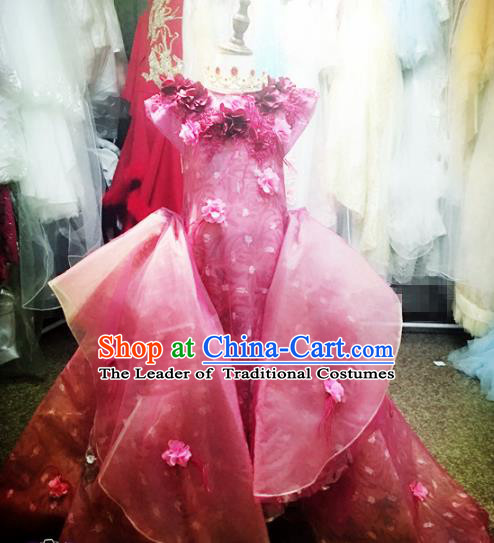 Children Models Show Costume Stage Performance Catwalks Pink Dress for Kids