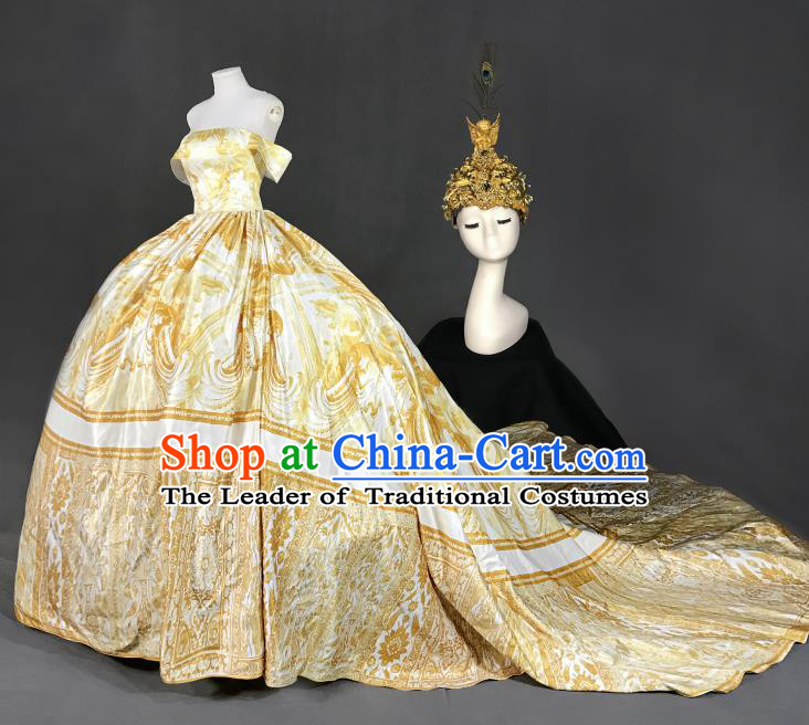 Top Grade Models Show Costume Stage Performance European Court Golden Full Dress for Women