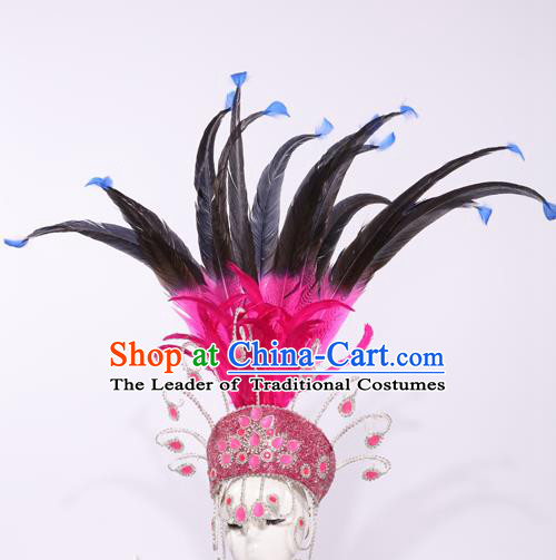 Top Grade Stage Performance Clothing Models Show Brazilian Rio Carnival Samba Feather Headwear for Women