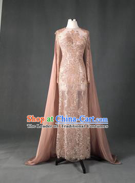 Top Grade Models Show Costume Stage Performance Catwalks Compere Pink Full Dress for Women