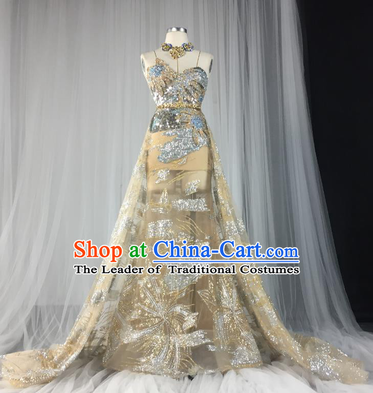 Top Grade Models Show Costume Stage Performance Catwalks Golden Full Dress for Women