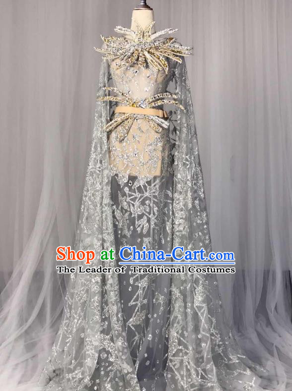 Top Grade Models Show Costume Stage Performance Catwalks Grey Full Dress for Women