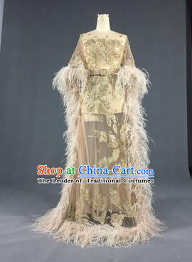 Top Grade Models Show Costume Stage Performance Catwalks Compere Golden Full Dress for Women