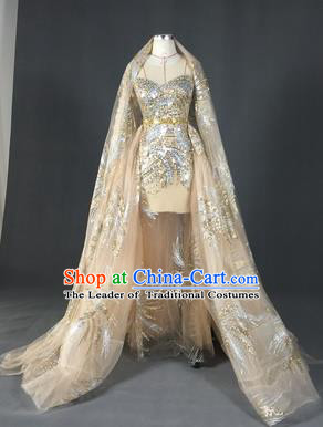 Top Grade Models Show Costume Stage Performance Catwalks Compere Golden Trailing Full Dress for Women