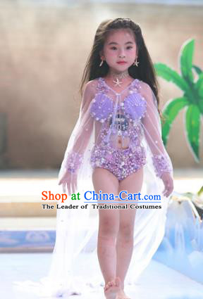 Children Models Show Costume Stage Performance Catwalks Purple Full Dress for Kids