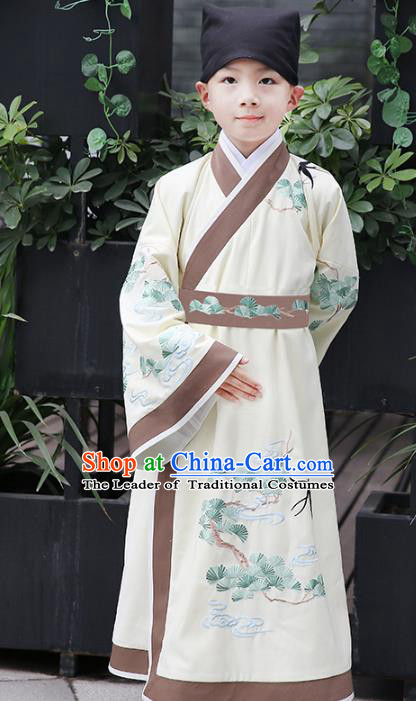 Chinese Ancient Han Dynasty Scholar Costumes Children Embroidered Hanfu Clothing for Kids