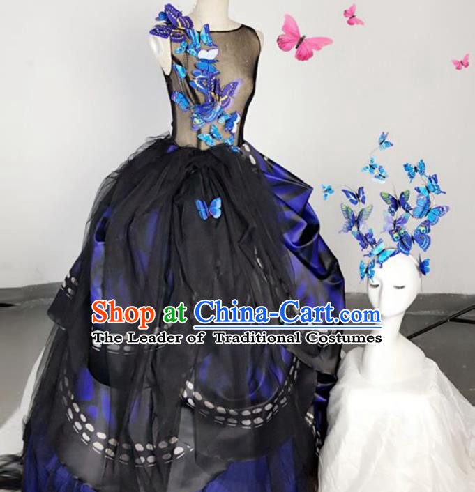 Top Grade Models Show Costume Stage Performance Catwalks Blue Butterfly Full Dress for Women