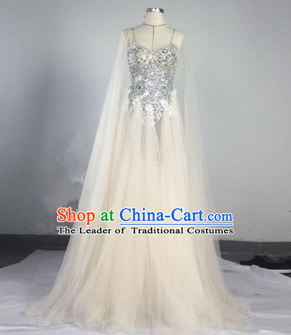 Top Grade Models Show Compere Costume Stage Performance Catwalks Veil Full Dress for Women