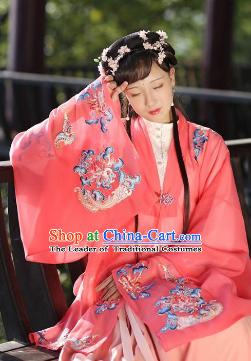 Ancient Chinese Ming Dynasty Palace Princess Costume Embroidered Red Cloak for Women
