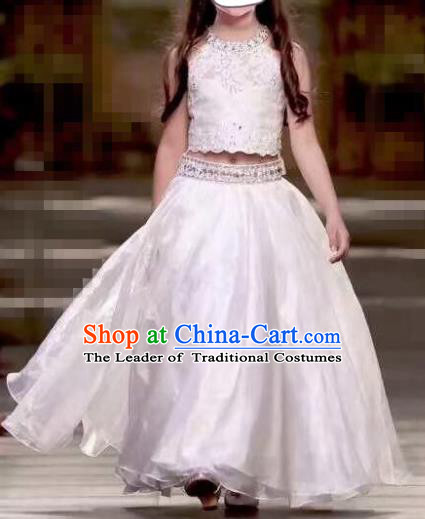Children Models Show Costume Stage Performance Catwalks Compere White Dress for Kids