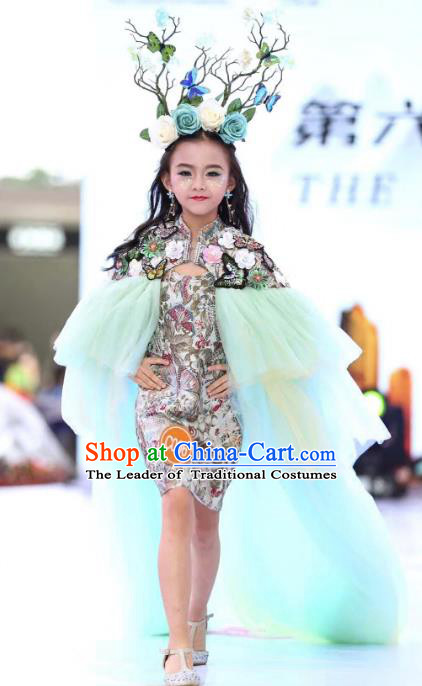 Children Models Show Costume Stage Performance Catwalks Compere Cheongsam Dress for Kids