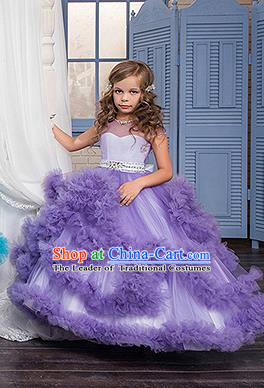 Children Models Show Costume Stage Performance Catwalks Compere Purple Veil Full Dress for Kids