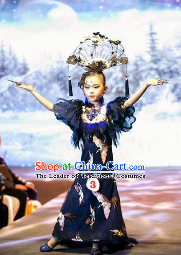 Children Models Show Costume Stage Performance Catwalks Compere Cheongsam Dress and Headpiece for Kids