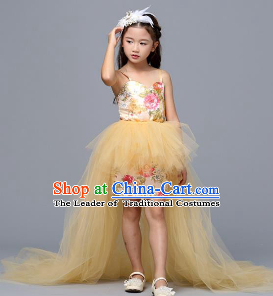 Children Models Show Costume Stage Performance Catwalks Compere Yellow Veil Dress for Kids