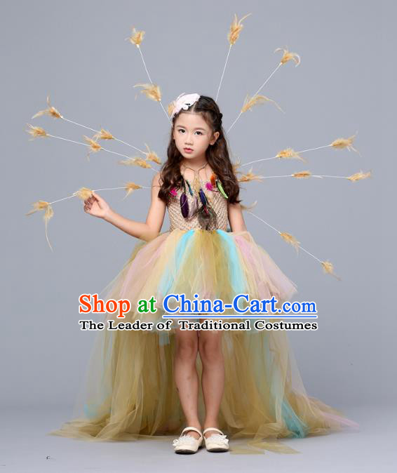 Children Models Show Costume Stage Performance Catwalks Compere Yellow Veil Trailing Dress for Kids
