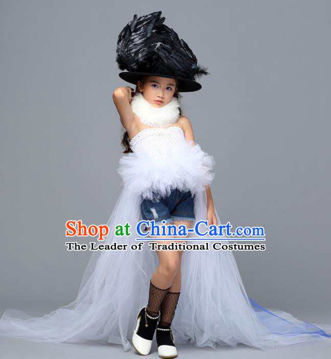 Children Models Show Costume Stage Performance Catwalks Compere White Veil Dress and Hat for Kids