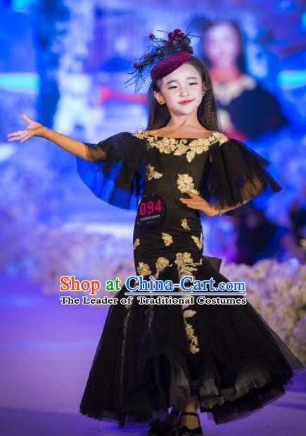 Children Models Show Costume Stage Performance Catwalks Compere Black Veil Mermaid Dress for Kids