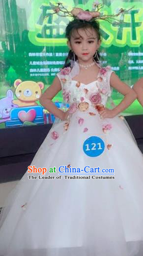 Children Models Show Costume Stage Performance Catwalks Compere Flower Fairy Veil Dress and Hat for Kids