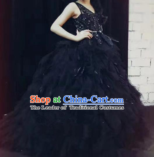 Children Models Show Costume Stage Performance Catwalks Compere Black Feather Dress for Kids
