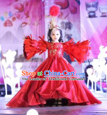 Children Models Show Costume Stage Performance Catwalks Compere Red Feather Mullet Dress for Kids