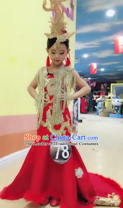 Children Models Show Costume Stage Performance Chinese Catwalks Compere Red Cheongsam Dress for Kids