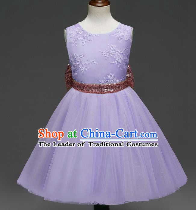 Children Models Show Costume Catwalks Stage Performance Bowknot Purple Veil Dress for Kids