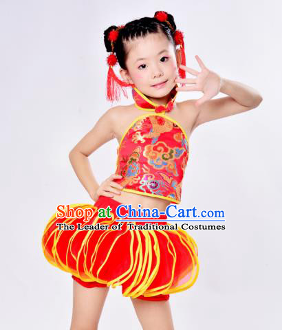 Top Grade Children Catwalks Costume Folk Dance Stage Performance Red Clothing for Kids