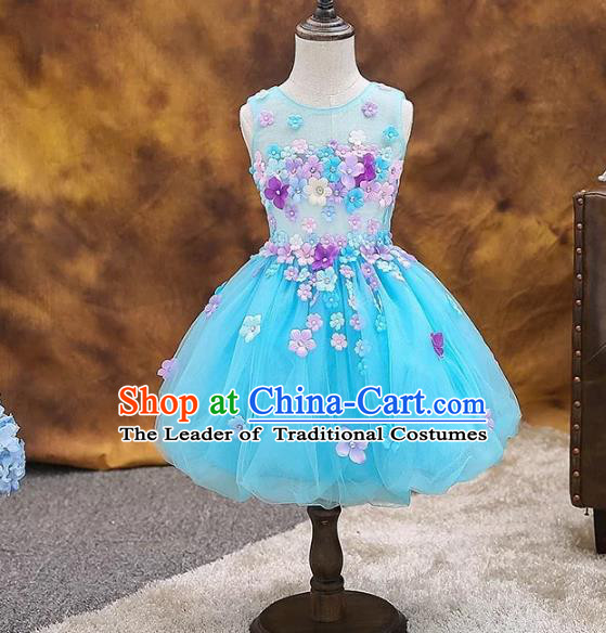 Top Grade Children Catwalks Costume Modern Dance Stage Performance Compere Blue Dress for Kids