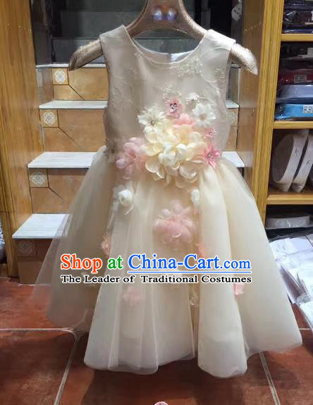 Top Grade Children Catwalks Costume Modern Dance Stage Performance Princess Dress for Kids