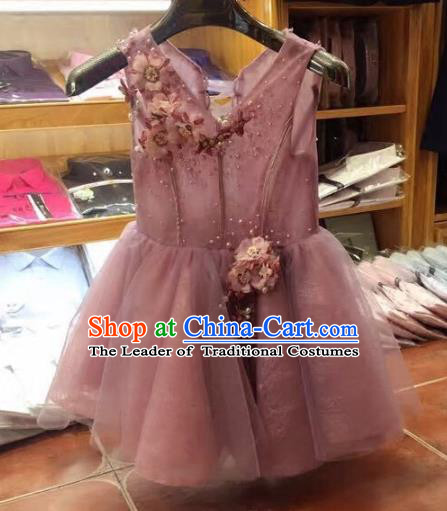 Top Grade Children Catwalks Costume Modern Dance Stage Performance Princess Pink Dress for Kids