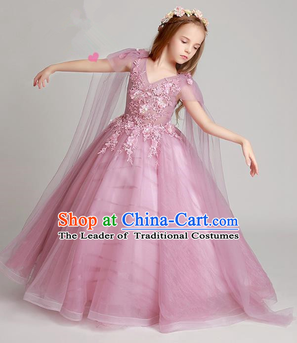 Top Grade Children Catwalks Costume Modern Dance Stage Performance Flower Fairy Princess Pink Dress for Kids