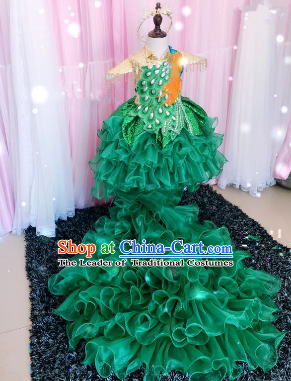 Top Grade Children Catwalks Costume Modern Dance Stage Performance Peacock Trailing Dress for Kids