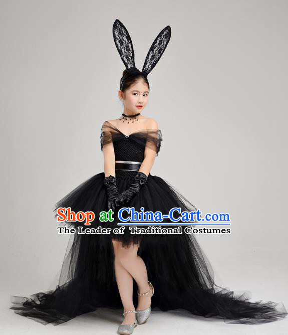 Top Grade Children Catwalks Costume Modern Dance Stage Performance Black Veil Trailing Dress for Kids