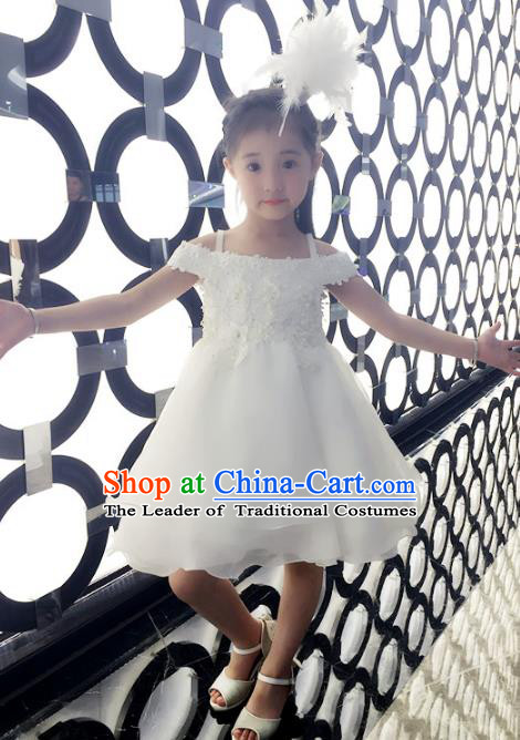 Top Grade Children Catwalks Costume Modern Dance Stage Performance White Bubble Dress for Kids