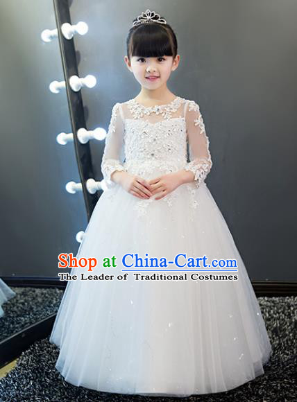 Children Models Show Costume Stage Performance Catwalks White Veil Dress for Kids