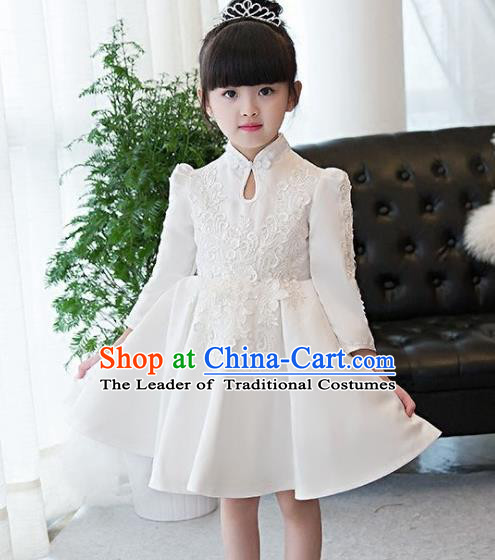 Top Grade Children Catwalks Costume Modern Dance Stage Performance White Lace Cheongsam Dress for Kids